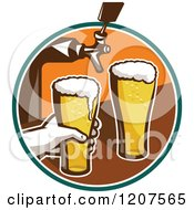 Clipart Of A Retro Bartender Filling Beer Glasses From Tap Royalty Free Vector Illustration