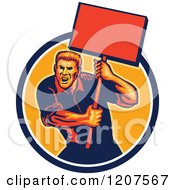 Clipart Of A Retro Activist Worker Protesting With A Sign Royalty Free Vector Illustration