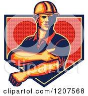 Clipart Of A Strong Construction Worker Rolling Up His Sleeves Over A Diamond Patterned Shield Royalty Free Vector Illustration