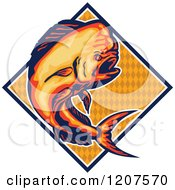 Clipart Of A Retro Jumping Dolphin Fish Over A Diamond Royalty Free Vector Illustration by patrimonio