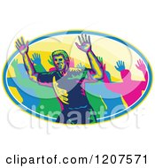 Clipart Of A Male Marathon Runner And Crowd Holding Up Hands In An Oval Royalty Free Vector Illustration