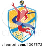 Clipart Of A Female Volleyball Player Spiking A Ball On A Shield Royalty Free Vector Illustration