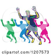 Clipart Of A Retro Colorful Marathon Runner And Silhouettes Holding Up Hands Royalty Free Vector Illustration