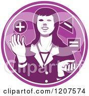 Clipart Of A Retro Businesswoman Juggling Shapes In A Purple Circle Royalty Free Vector Illustration