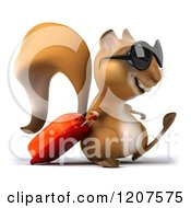 Clipart Of A 3d Traveling Squirrel With Sunglasses And Rolling Luggage Royalty Free CGI Illustration