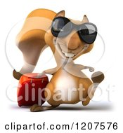 Clipart Of A 3d Traveling Squirrel With Sunglasses And Rolling Luggage 2 Royalty Free CGI Illustration