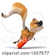 Clipart Of A 3d Traveling Squirrel Running With Sunglasses And Rolling Luggage Royalty Free CGI Illustration