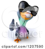 Clipart Of A 3d Pigeon Mascot Wearing Sunglasses And Holding A Thumb Up Royalty Free CGI Illustration