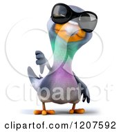 Clipart Of A 3d Pigeon Mascot Wearing Sunglasses And Holding A Thumb Down Royalty Free CGI Illustration