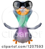 Clipart Of A 3d Pigeon Mascot Flying With Sunglasses On Royalty Free CGI Illustration