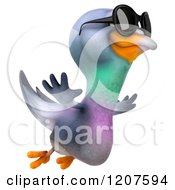 Clipart Of A 3d Pigeon Mascot Flying With Sunglasses On 2 Royalty Free CGI Illustration