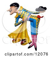 Clay Sculpture Clipart Matador Bullfighter Bowing Royalty Free 3d Illustration