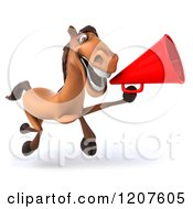Clipart Of A 3d Happy Horse Running And Announcing With A Megaphone Royalty Free CGI Illustration
