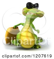 Clipart Of A 3d Crocodile Traveler With Rolling Luggage Royalty Free CGI Illustration