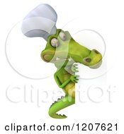 Clipart Of A 3d Crocodile Chef Looking Around A Sign Board Royalty Free CGI Illustration