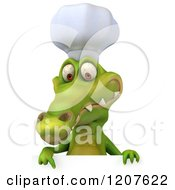 Clipart Of A 3d Crocodile Chef Pointing Down Over A Sign Board Royalty Free CGI Illustration