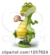 Clipart Of A 3d Crocodile Chef Holding A Brain And Balancing On His Tail 2 Royalty Free CGI Illustration