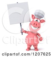 Clipart Of A 3d Chef Pig Holding A Sign Royalty Free CGI Illustration by Julos