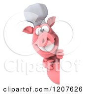 Clipart Of A 3d Chef Pig Pointing To And Looking Around A Sign Royalty Free CGI Illustration by Julos