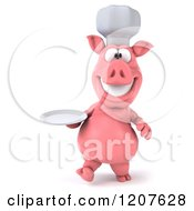Clipart Of A 3d Chef Pig Carrying A Plate Royalty Free CGI Illustration by Julos