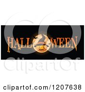 Cartoon Of A Halloween Banner With A Jackolantern Pumpkin Wearing A Witch Hat Over A Full Moon With Bats On Black Royalty Free Vector Clipart by Pushkin