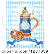 Cartoon Of A Soft Pretzel And Oktoberfest Beer Stein And Banner Over Diamonds Royalty Free Vector Clipart by Pushkin