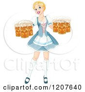 Cartoon Of A Happy Blond Oktoberfest Beer Maiden Woman Royalty Free Vector Clipart
