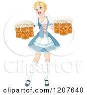 Happy Blond Oktoberfest Beer Maiden Woman