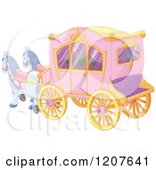 Cartoon Of A Pink Fairy Tale Horse Drawn Carriage Royalty Free Vector Clipart