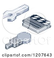 Clipart Of Pixelated Wrench Film Clapper Board And Microphone Icons Royalty Free Vector Illustration