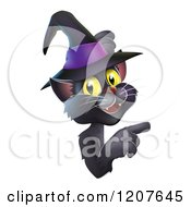 Cartoon Of A Black Cat Wearing A Witch Hat And Pointing At A Sign Royalty Free Vector Clipart