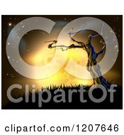 Clipart Of A Creepy Dead Tree On A Hill Against A Full Yellow Moon And Night Sky Royalty Free Vector Illustration