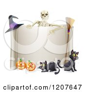 Cartoon Of A Skeleton Pointing Down To A Halloween Sign With Black Cats A Broomstick Witch Hat And And Pumpkins Royalty Free Vector Clipart