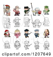 Cartoon Of Outlined And Colored Children In Costumes Royalty Free Vector Clipart