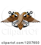 Clipart Of A Double Headed Eagle Over Crossed Anchors 2 Royalty Free Vector Illustration by Vector Tradition SM