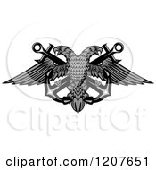 Clipart Of A Grayscale Double Headed Eagle Over Crossed Anchors 2 Royalty Free Vector Illustration