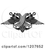 Clipart Of A Grayscale Double Headed Eagle Over Crossed Anchors Royalty Free Vector Illustration