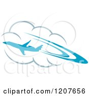 Clipart Of A Blue Airplane Flying Over Clouds Royalty Free Vector Illustration