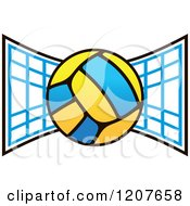 Clipart Of A Volleyball Over A Net Royalty Free Vector Illustration