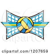 Clipart Of A Volleyball And Stripes Over A Net Royalty Free Vector Illustration