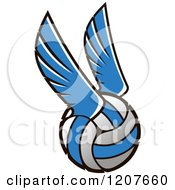 Clipart Of A Blue And White Winged Volleyball Royalty Free Vector Illustration
