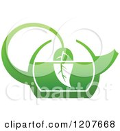 Clipart Of A Pot Of Green Tea With Leaves 2 Royalty Free Vector Illustration