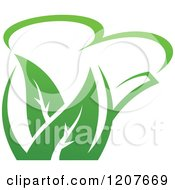 Clipart Of A Pot Of Green Tea With Leaves 3 Royalty Free Vector Illustration