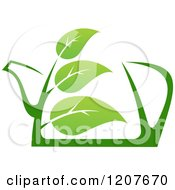 Clipart Of A Pot Of Green Tea With Leaves Royalty Free Vector Illustration