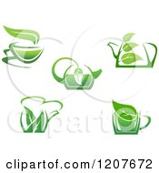 Clipart Of Cups Of Green Tea Or Coffee 4 Royalty Free Vector Illustration