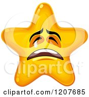 Cartoon Of A Yellow Star Crying Royalty Free Vector Clipart