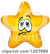 Cartoon Of A Nervous Yellow Star Royalty Free Vector Clipart