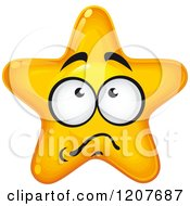 Cartoon Of A Scared Yellow Star Royalty Free Vector Clipart