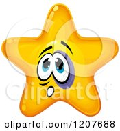 Cartoon Of A Yellow Star With A Black Eye Royalty Free Vector Clipart