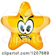 Cartoon Of A Mean Yellow Star Royalty Free Vector Clipart